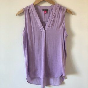 VINCE CAMUTO Sleeveless Textured Shirt Purple PXS